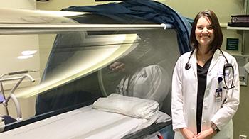 Dr. Wainwright and hyperbaric chamber
