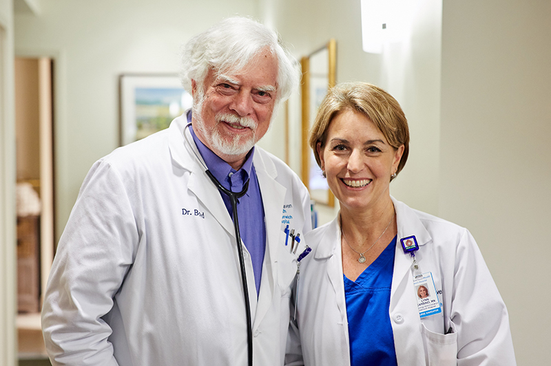 Barry Boyd, MD and Lynn Carbino, RN onc. nurse coordinator